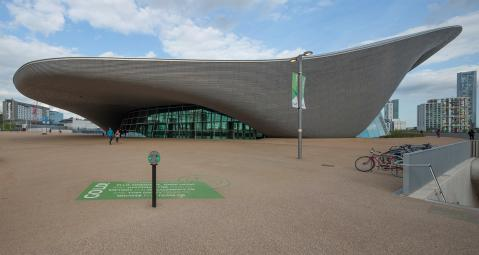 Queen Elizabeth Olympic Park Aquatics Centre. Stratford, London.